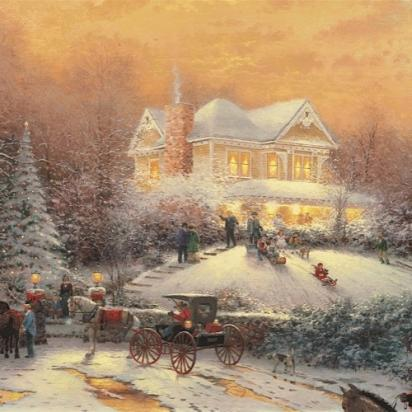 Old Truck With Christmas Tree Painting.Thomas Kinkade Painting Reference Thomas Kinkade Studios