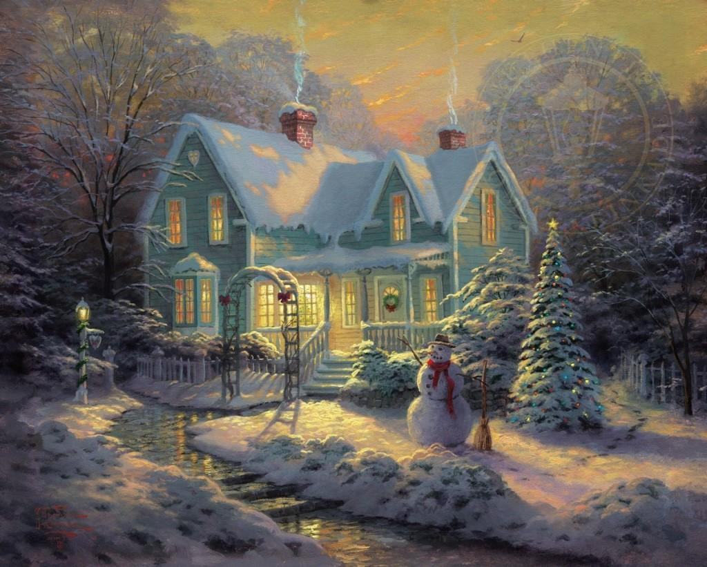 Christmas house painting - Select Options Blessings Of Christmas Limited Edition Art