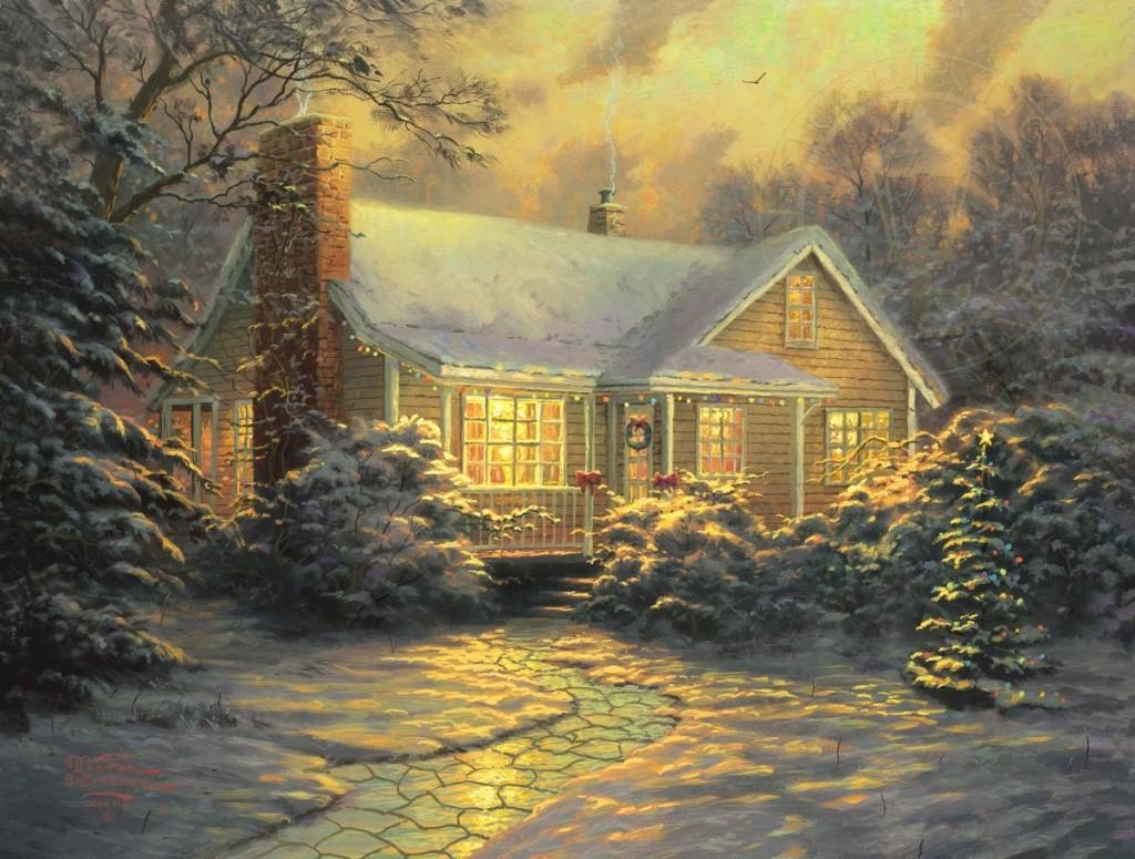 Christmas house painting - Select Options Christmas Cottage Movie Release Limited Edition Art