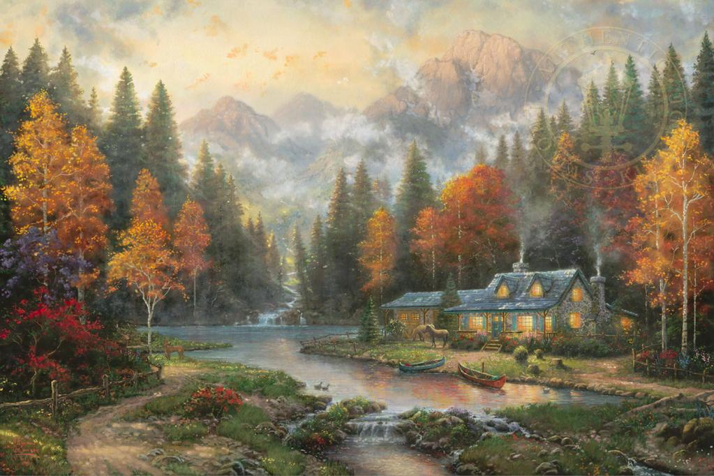 Evening at Autumn Lake -THOMAS KINKADE | GREAT OUTDOORS.