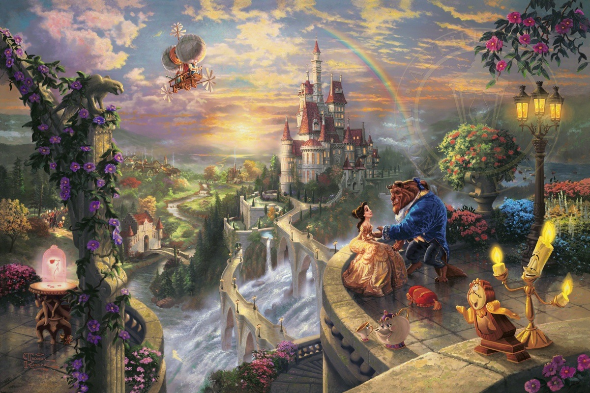 Beauty and the Beast Falling in Love | The Thomas Kinkade