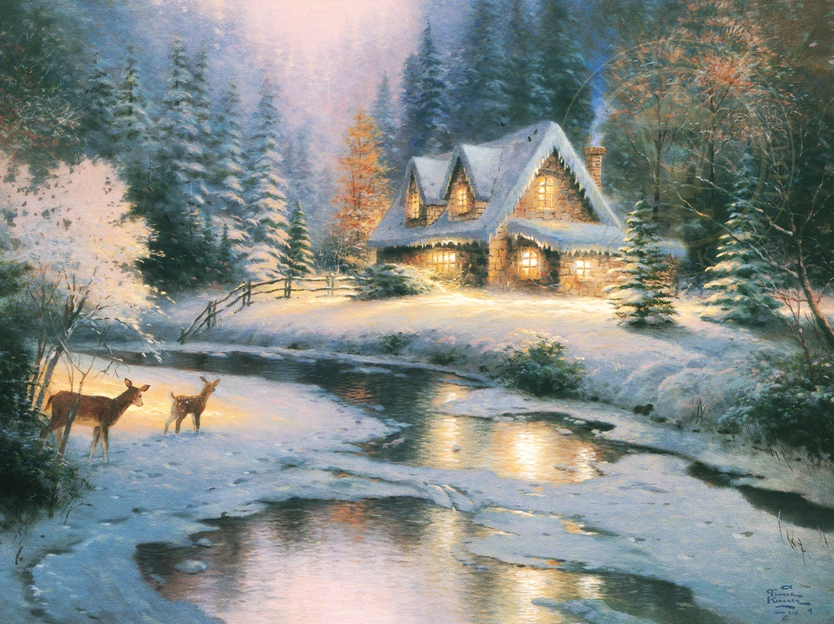 Deer creek cottage the thomas kinkade company for Image fond ecran ordinateur gratuit