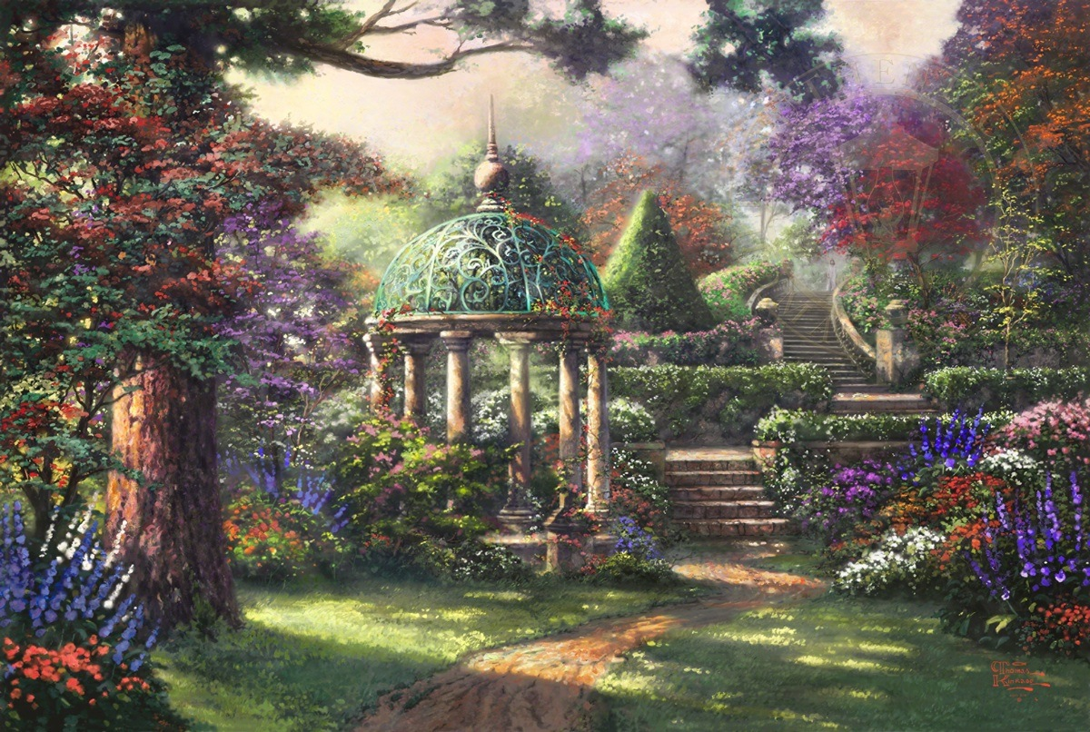 Gazebo of prayer the thomas kinkade company for Garden painting images