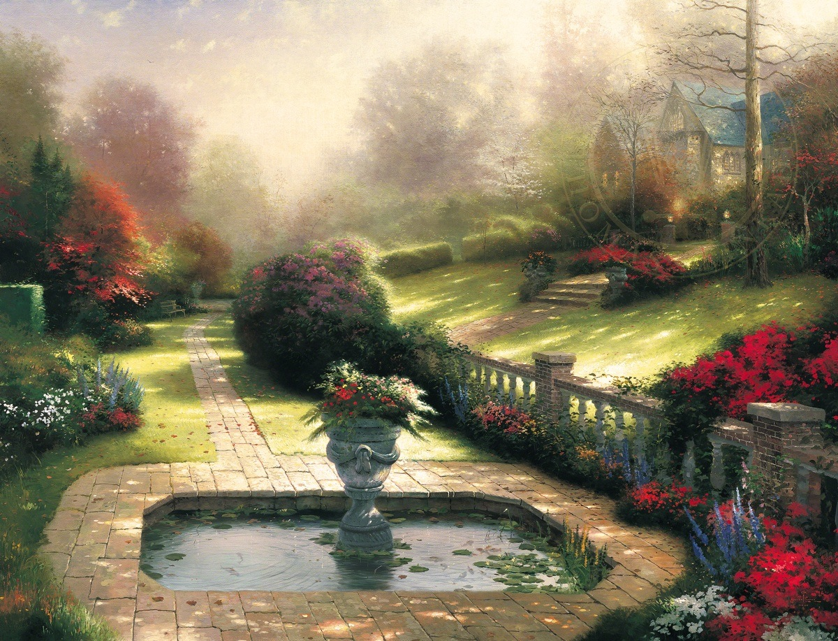 Gardens beyond autumn gate the thomas kinkade company for Garden painting images