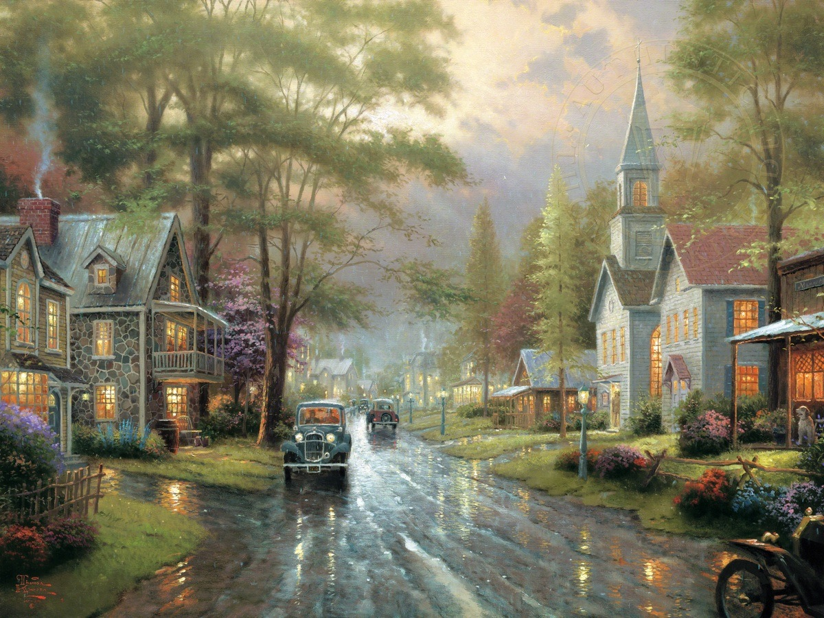 Hometown Evening The Thomas Kinkade Company