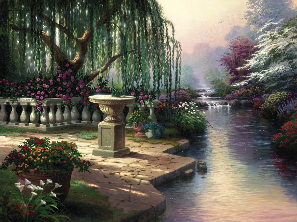 The hour of prayer the thomas kinkade company for Garden painting images