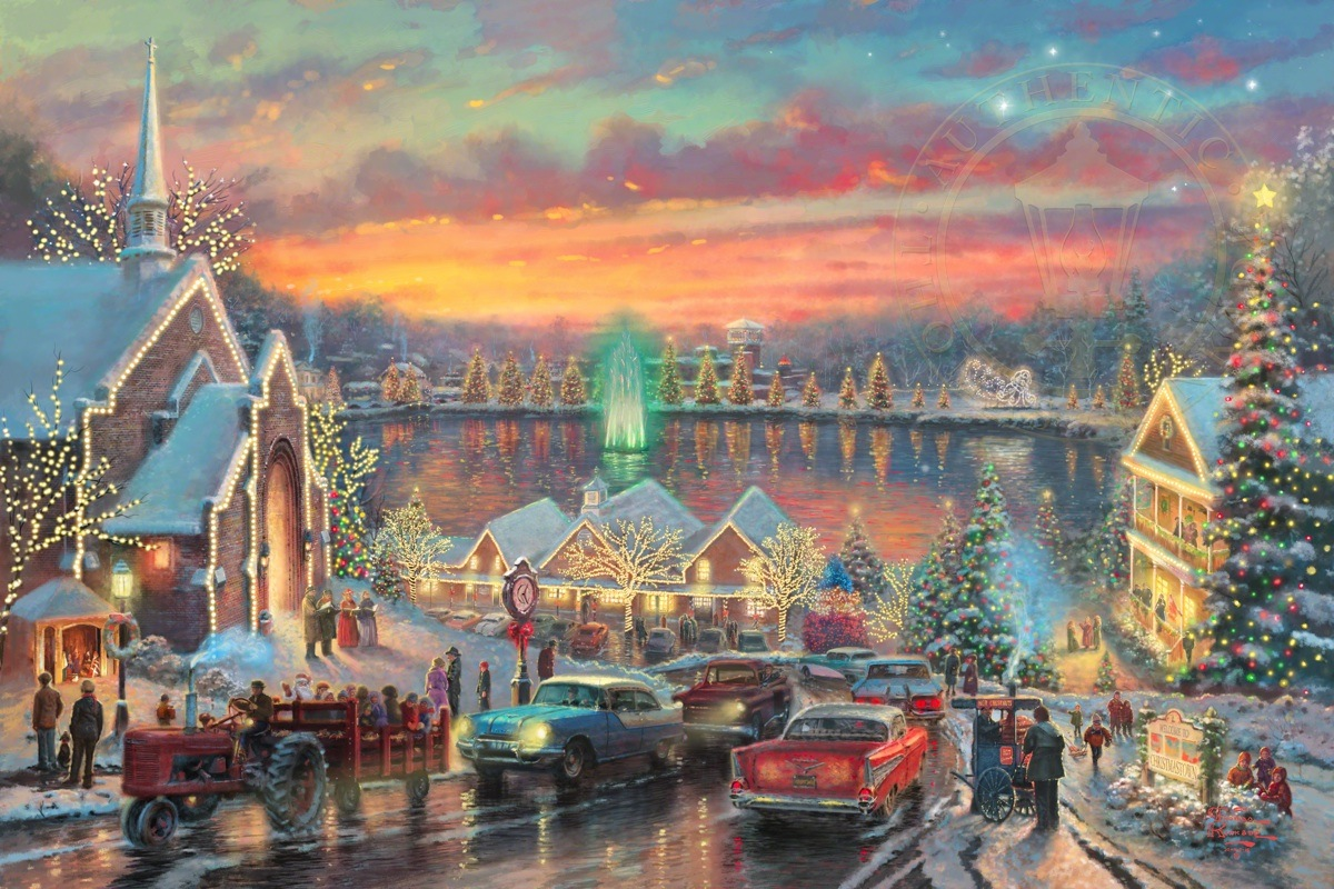 Mcadenville Christmas Lights.The Lights Of Christmastown Thomas Kinkade Studios