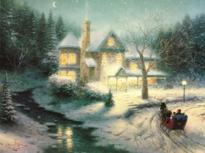 Example of an award-winning Thomas Kinkade Chiaroscuro: Moonlit Sleigh Ride, 1992