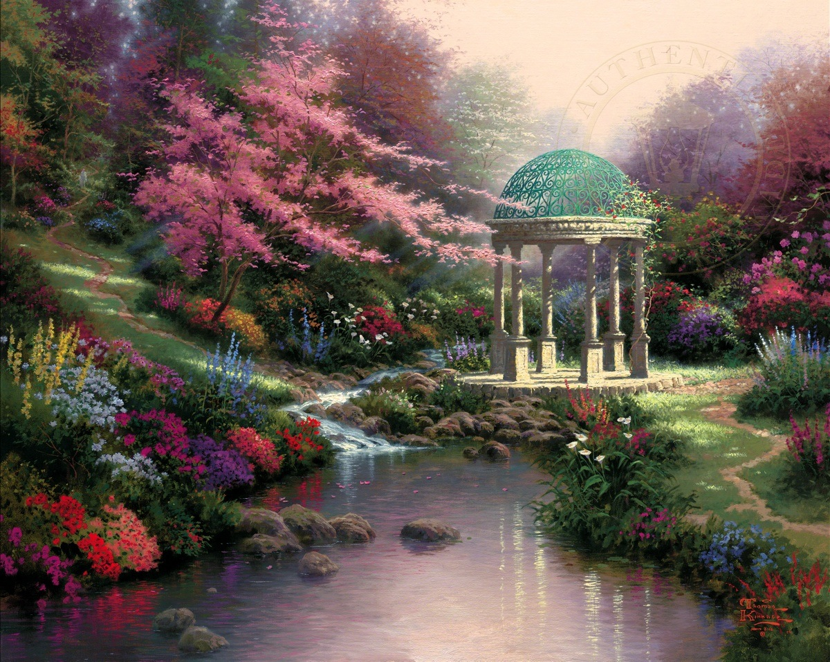 Pools of serenity the thomas kinkade company for Garden painting images
