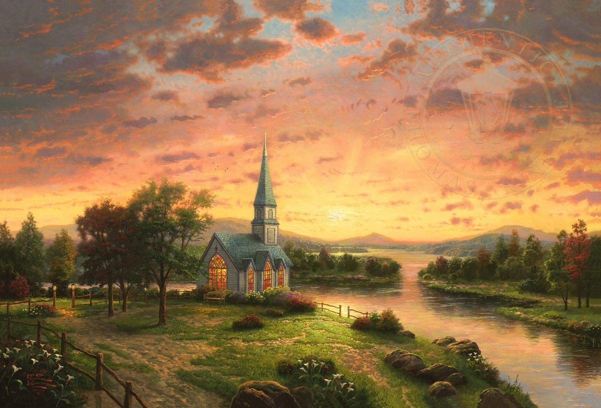 sunrise chapel the thomas kinkade company. Black Bedroom Furniture Sets. Home Design Ideas