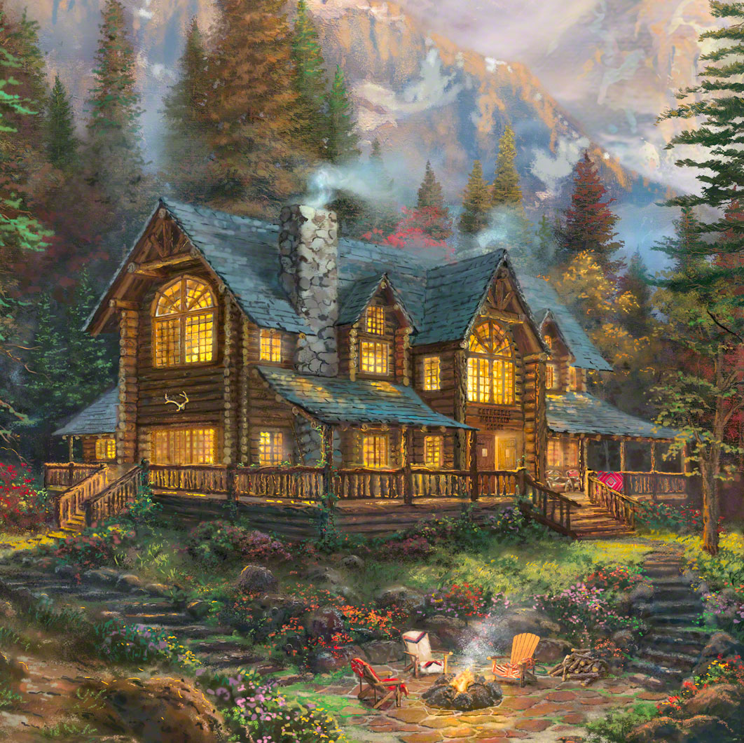 cathedral mountain lodge limited edition art thomas. Black Bedroom Furniture Sets. Home Design Ideas