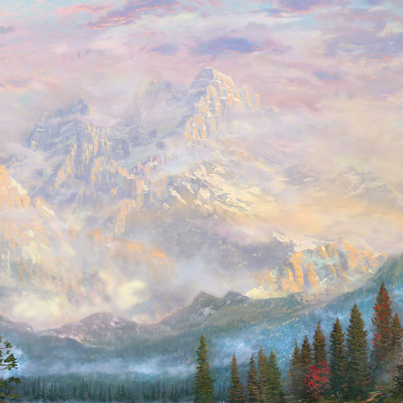 Cathedral Mountain Lodge – Limited Edition Art | The Thomas Kinkade ...
