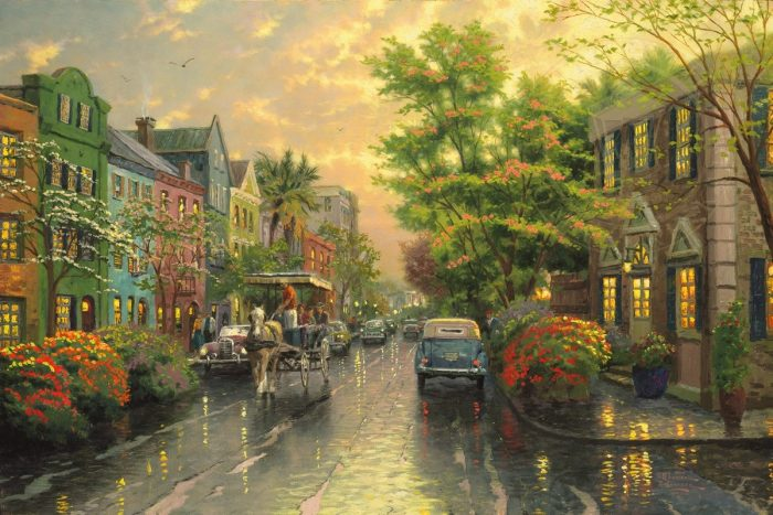 Charleston, Sunset on Rainbow Row – Limited Edition Canvas