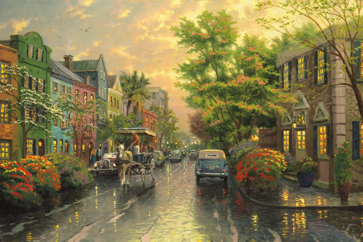 Charleston Sunset On Rainbow Row Limited Edition Art