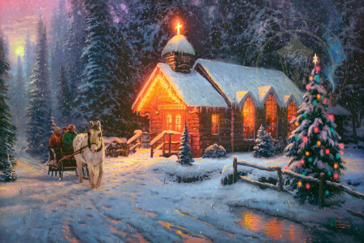 Thomas Kinkade Christmas.Christmas Chapel I Limited Edition Art