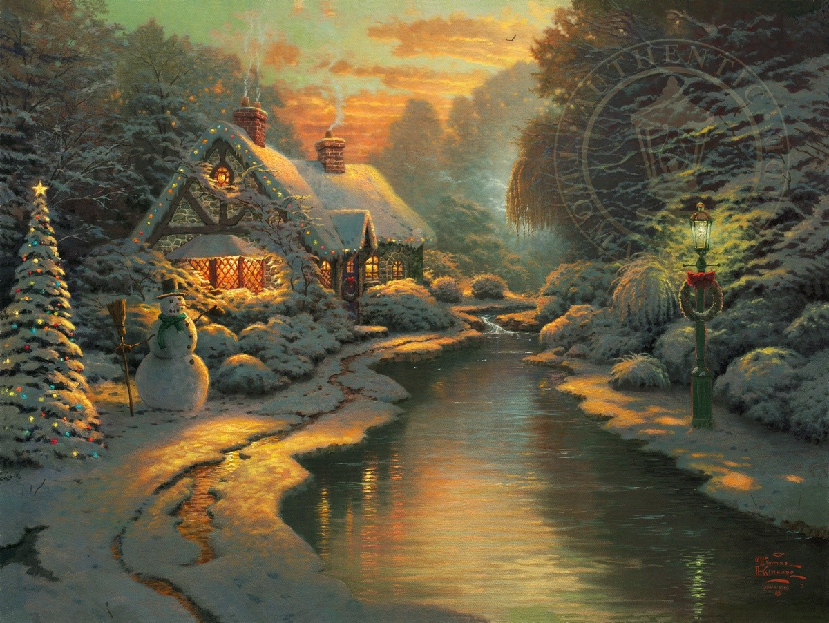Thomas Kinkade Christmas.Christmas Evening Limited Edition Art