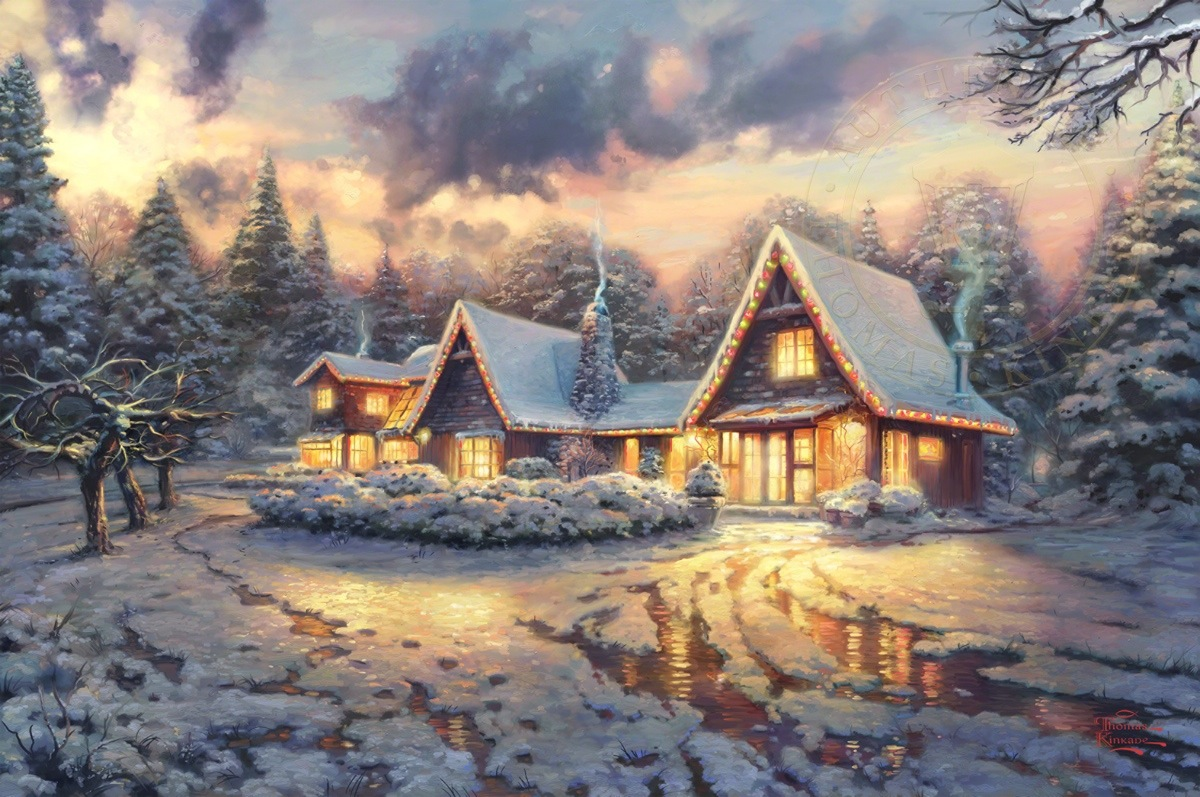 Thomas Kinkade Christmas.Christmas Lodge Limited Edition Art
