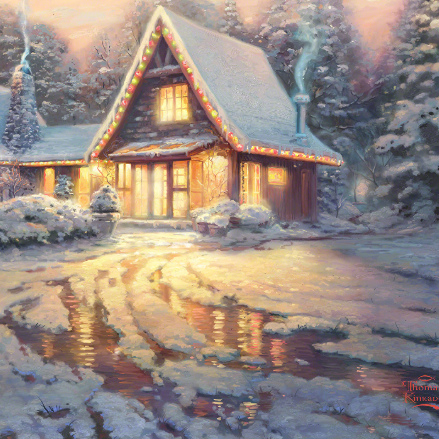 Christmas Lodge Limited Edition Art The Thomas Kinkade Company