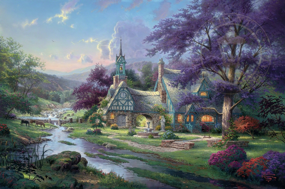clocktower cottage limited edition art thomas kinkade studios rh thomaskinkade com thomas kinkade clocktower cottage puzzle thomas kinkade clocktower cottage puzzle
