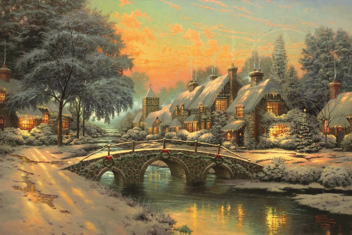 Cobblestone Christmas – Limited Edition Art | The Thomas Kinkade ...
