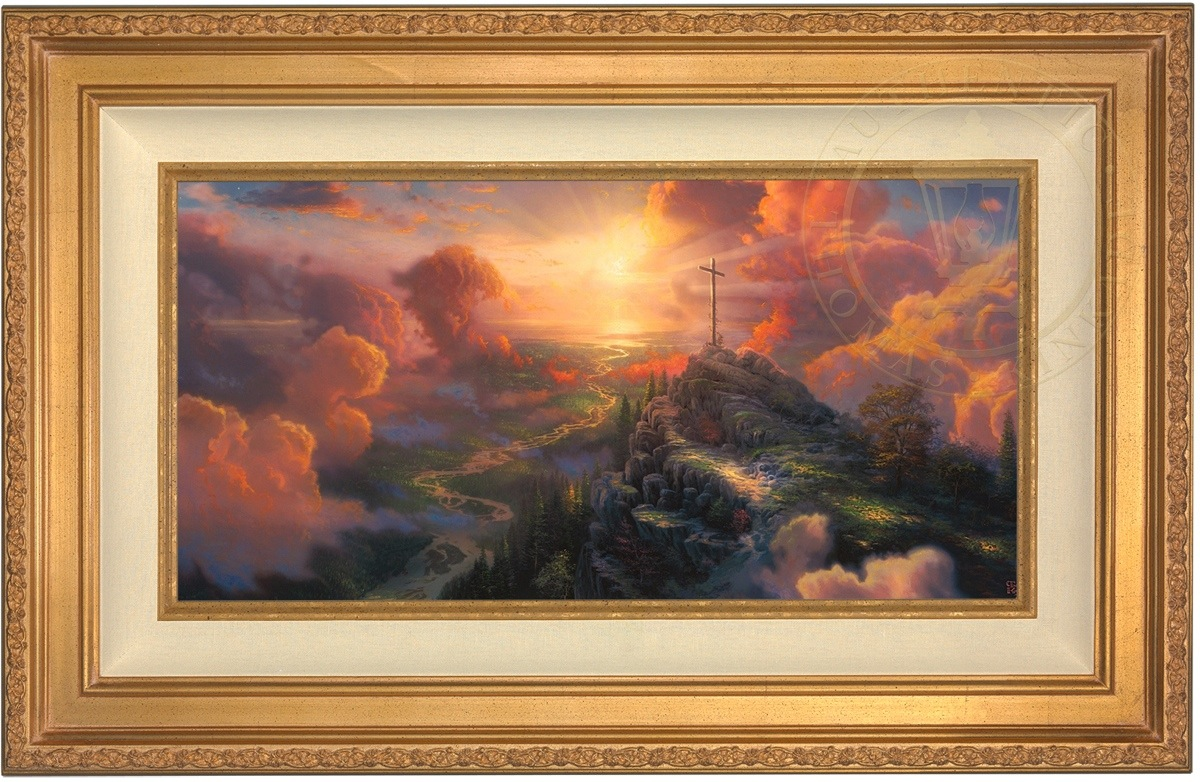 thomas kinkade the cross 12 x 24 le s n canvas gold frame ebay. Black Bedroom Furniture Sets. Home Design Ideas