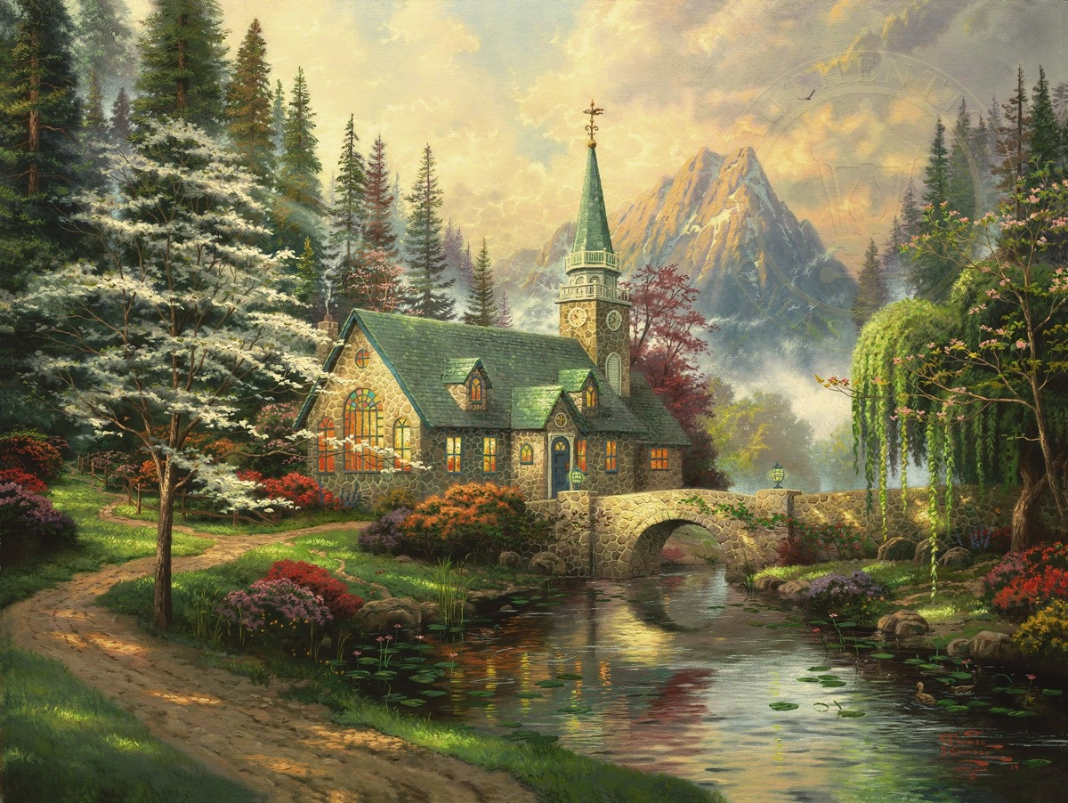 Dogwood Chapel Limited Edition Art Thomas Kinkade Studios