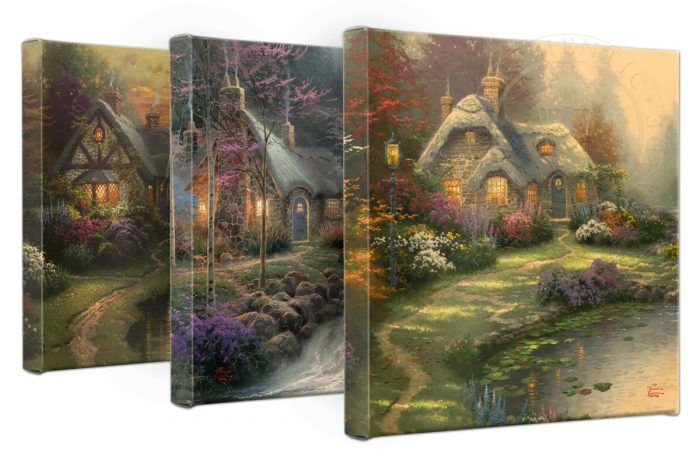 Thomas Kinkade Cottages – Set of 3, 14″ x 14″ Gallery Wrapped Canvases