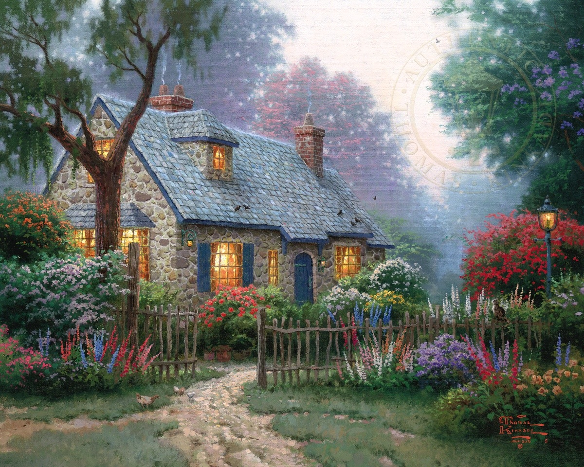 Houses --- Thomas Kinkade Dealer Postcard Path Lights Fence Teacup ...