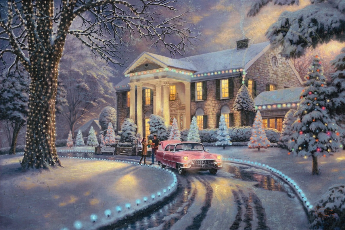 graceland christmas limited edition art the thomas kinkade company