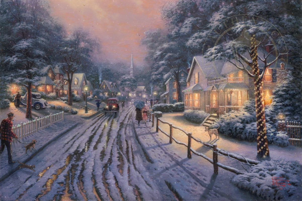 Hometown christmas memories limited edition art thomas - Art village wallpaper ...