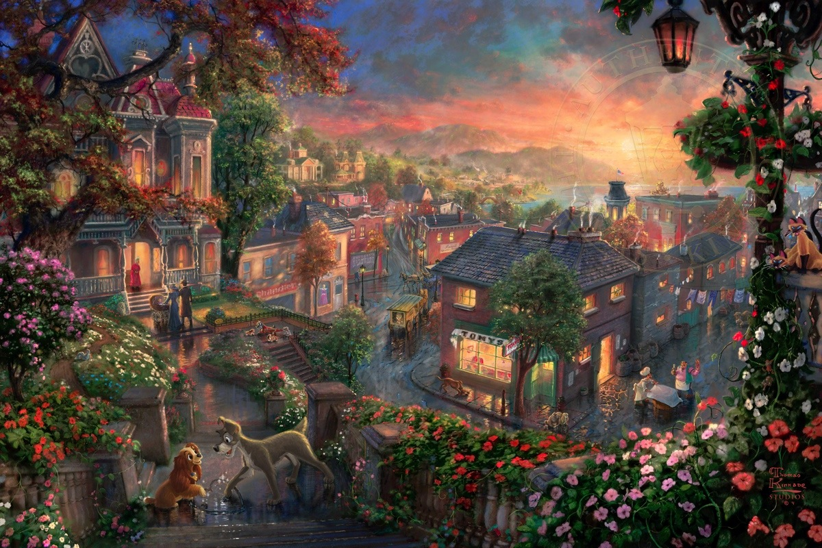 Lady and the Tramp  Limited Edition Art  The Thomas Kinkade Company