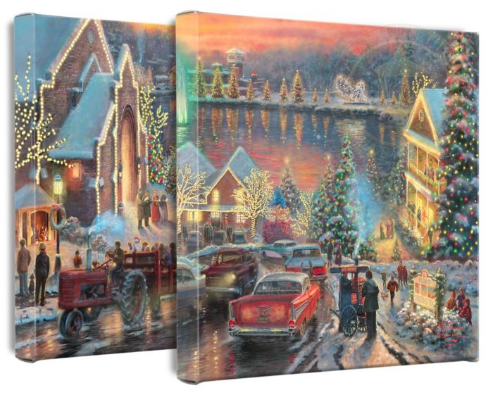 Lights of Christmastown, The (Set of 2) – 14″ x 14″ Gallery Wrapped Canvas