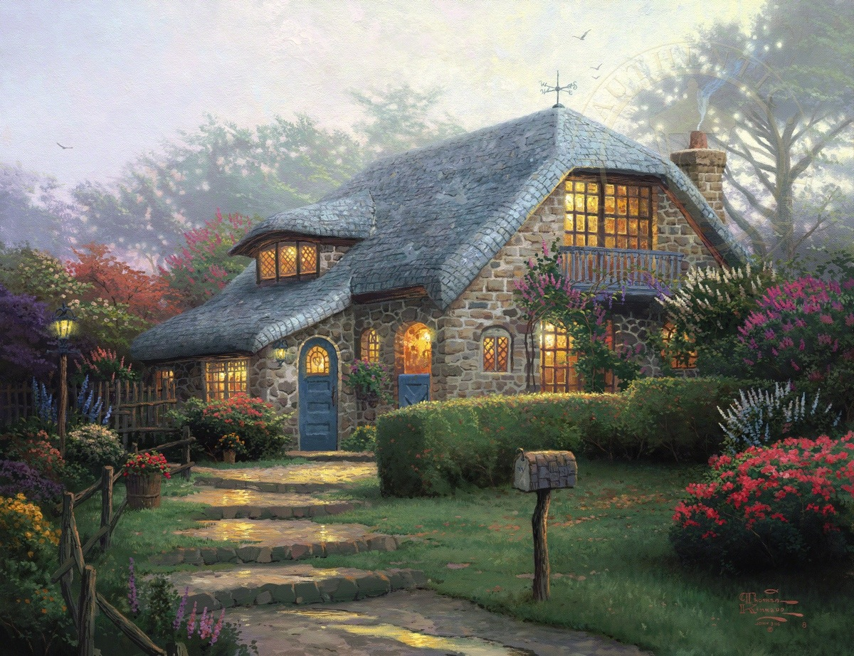 Lilac cottage limited edition art the thomas kinkade company - Cottage image ...