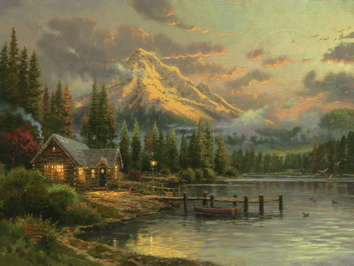Lakeside Hideaway Limited Edition Art The Thomas Kinkade Company
