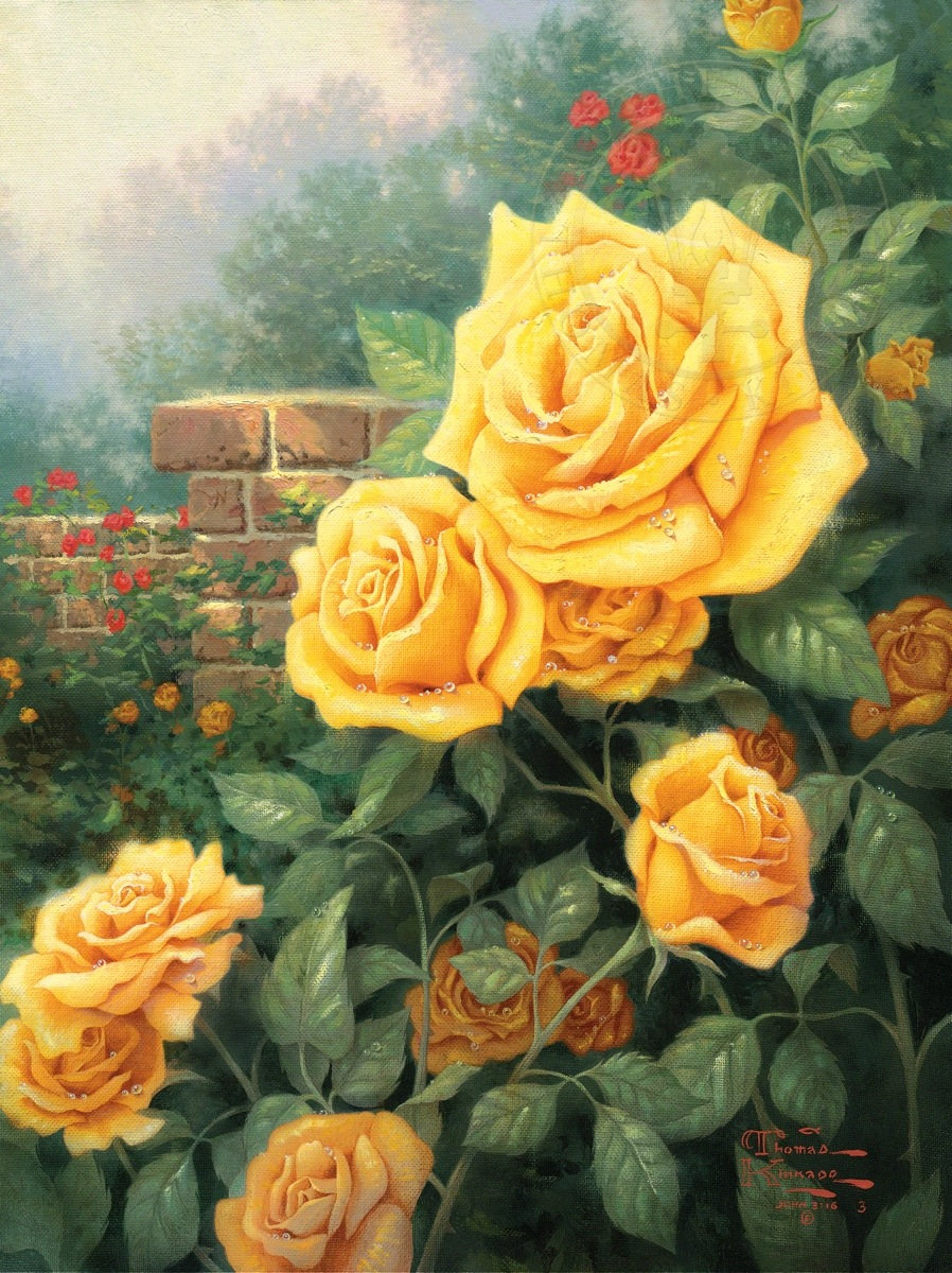 perfect yellow rose a limited edition art the thomas kinkade