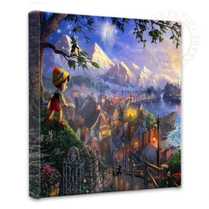 "Pinocchio Wishes Upon A Star – 14"" x 14"" Gallery Wrapped Canvas"