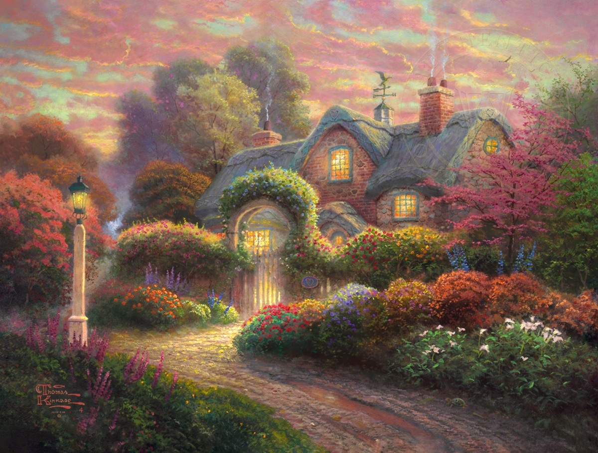 Pleasant Rosebud Cottage Limited Edition Art Thomas Kinkade Studios Home Interior And Landscaping Ologienasavecom
