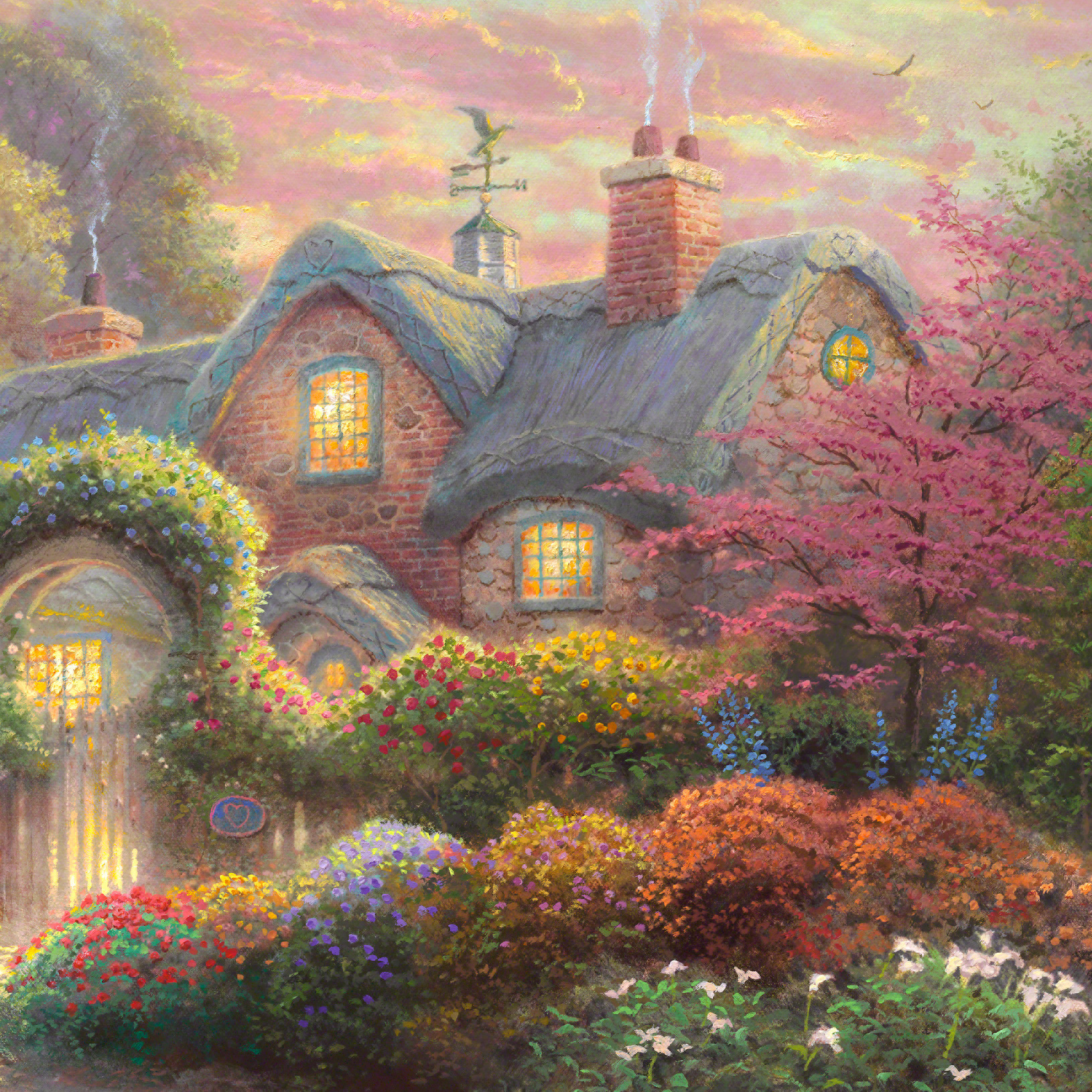 Peachy Rosebud Cottage Limited Edition Art Thomas Kinkade Studios Home Interior And Landscaping Ologienasavecom