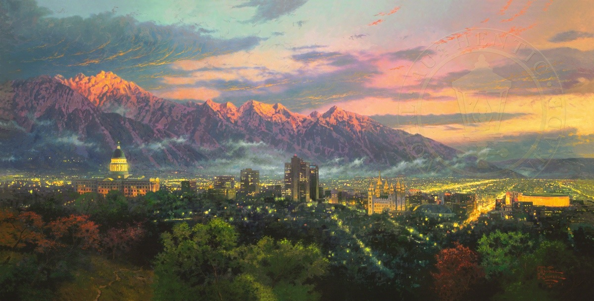 Salt Lake City Of Light Limited Edition Canvas Thomas Kinkade Studios