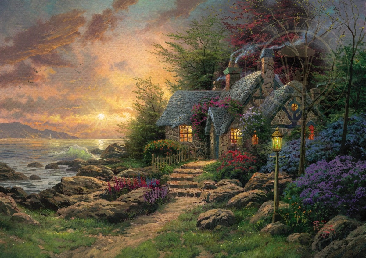 seaside hideaway limited edition art the thomas kinkade company
