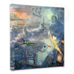 "Tinker Bell and Peter Pan Fly to Neverland – 14"" x 14"" Gallery Wrapped Canvas"