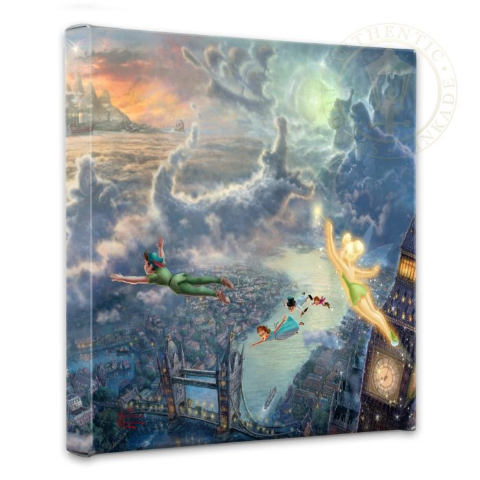 """Tinker Bell and Peter Pan Fly to Neverland – 14"""" x 14"""" Gallery Wrapped Canvas"""