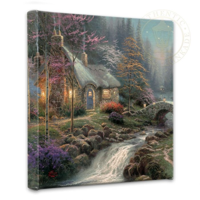 "Twilight Cottage – 14"" x 14"" Gallery Wrapped Canvas"