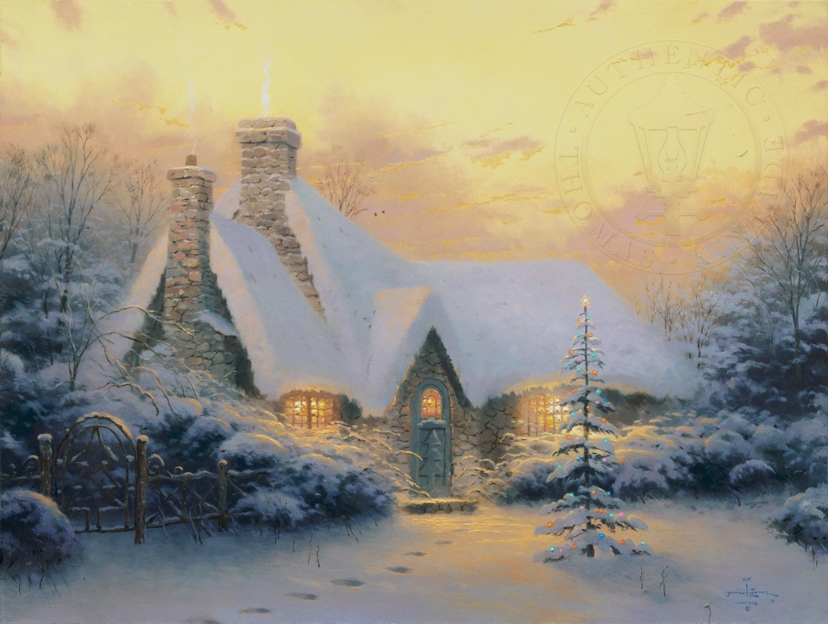christmas tree cottage limited edition art thomas kinkade studios rh thomaskinkade com thomas kinkade the christmas cottage movie thomas kinkade's christmas cottage full movie