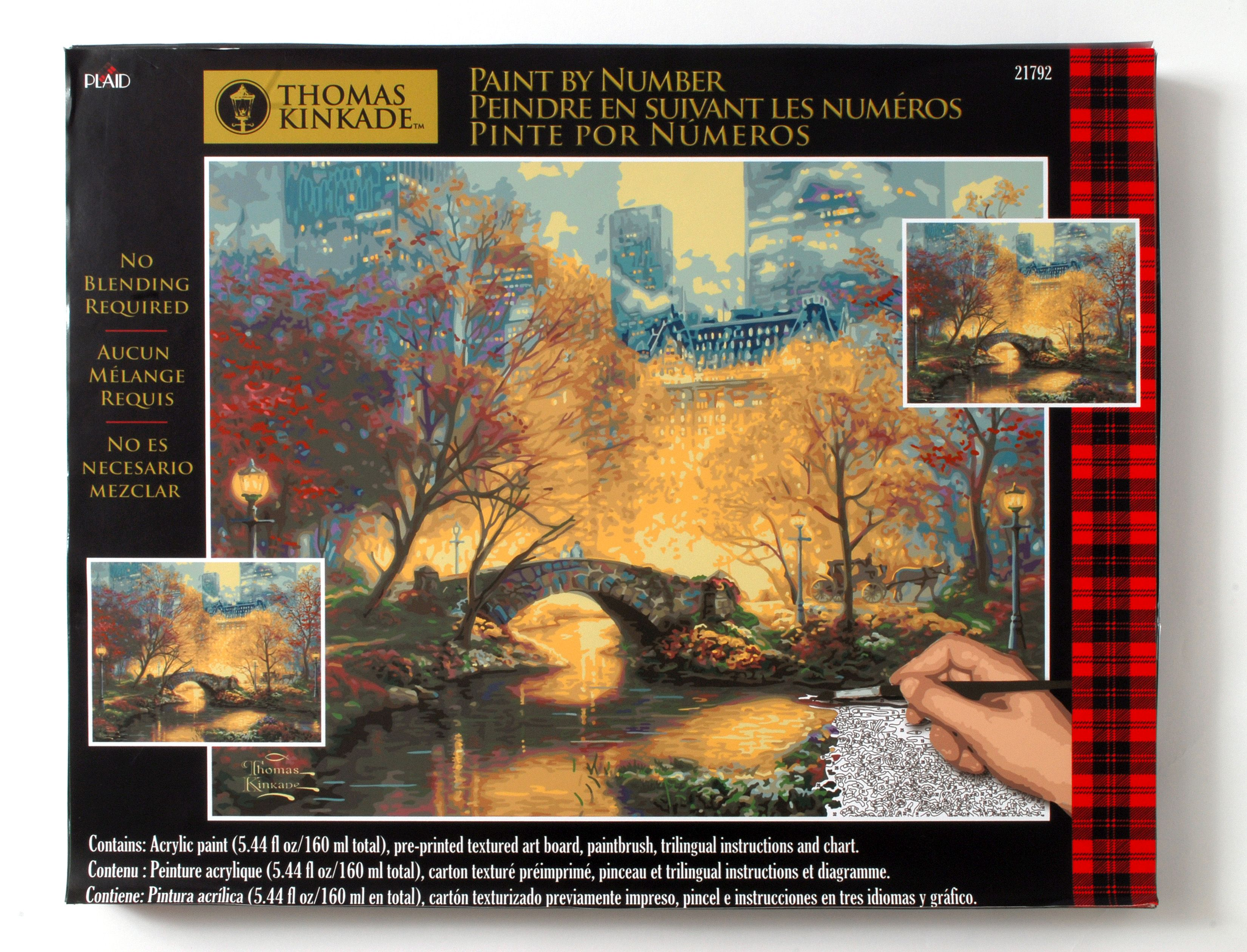 plaid paint by numbers u2013 thomas kinkade u201ccentral park in the fall