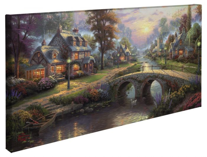 Sunset on Lamplight Lane – 16″ x 31″ Gallery Wrapped Canvas