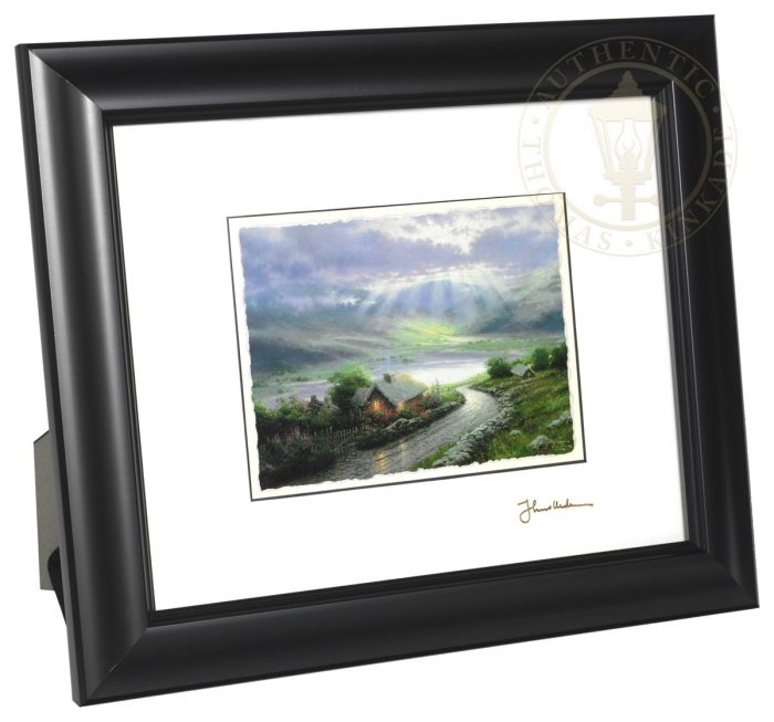 "Emerald Isle Cottage – 8"" x 10"" Framed Matted Print (Satin Black Frame)"