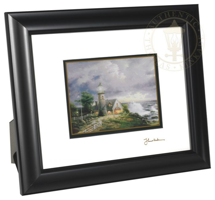 A Light in the Storm – 8″ x 10″ Framed Matted Print (Satin Black Frame)