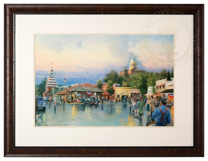 Main Street Courthouse – Framed Matted Print Hand Signed by Thomas Kinkade