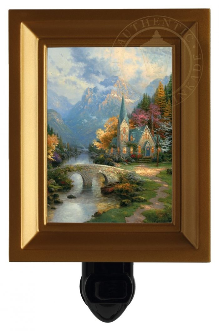 Mountain Chapel, The – Nightlight (Gold Frame)